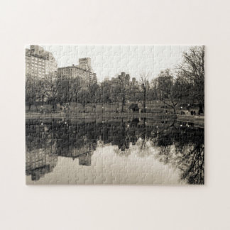 Black & White Landscape in Central Park Jigsaw Puzzle