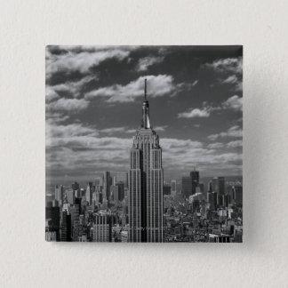 Black & White landscape of New York City skyline 15 Cm Square Badge