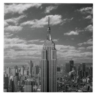 Black & White landscape of New York City skyline Large Square Tile