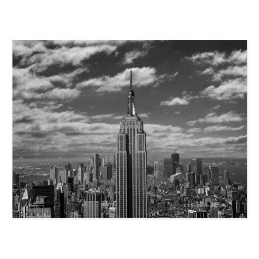 Black & White landscape of New York City skyline Post Card