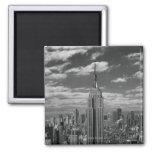 Black & White landscape of New York City skyline Square Magnet