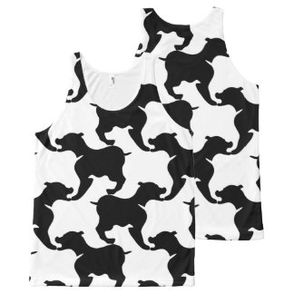 Black White large Dog Pattern Tank Top