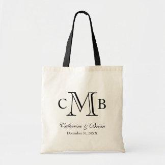 Black & White Large Monogram Wedding Favour Tote Bag