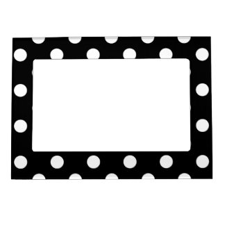 Black White Large Polka Dot Pattern Magnetic Picture Frame