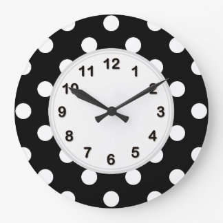 Black White Large Polka Dot Pattern Wallclock