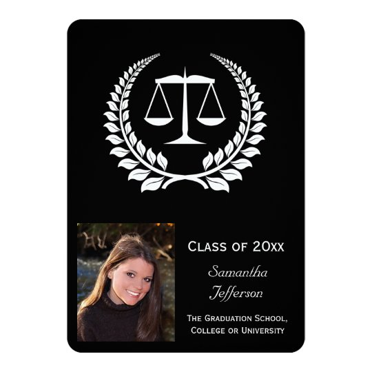 Black/White Laurel Law School Graduation Card