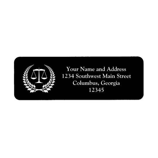 Black/White Laurel Law School Graduation Return Address Label