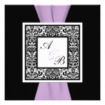 Black White Lavender Damask PRINTED RIBBON