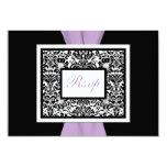 Black White Lavender Damask PRINTED RIBBON RSVP 9 Cm X 13 Cm Invitation Card