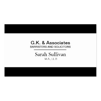 Black & White Law Business Card - Lawyer Attorney