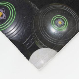 Black White Lawn Bowls Pattern, Fleece Blanket