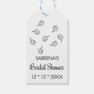 Black & White Leaf Bridal Shower Leaves Wedding Gift Tags