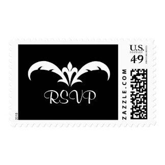 Black & White Leaf Heart RSVP Postage