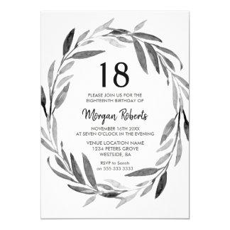 Black & White Leaf Wreath 18th Birthday Invite