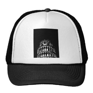 Black White Leaning Tower of Pisa Italy Cap