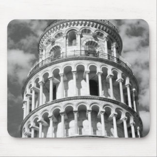 Black White Leaning Tower of Pisa Italy Mouse Mat
