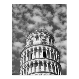 Black White Leaning Tower of Pisa Italy Postcard