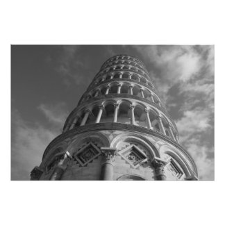 Black & White Leaning Tower of Pisa Italy Poster