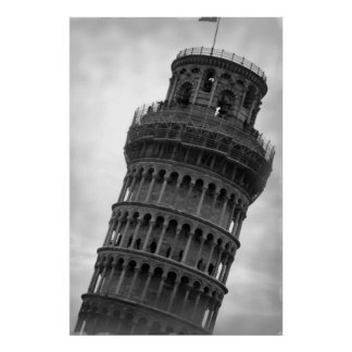 Black & White Leaning Tower of Pisa Travel Poster