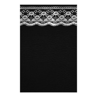 Black & White Leather & Lace Personalized Stationery