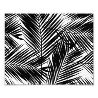 Black & White Leaves Pattern Print Design