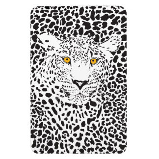Black & White Leopard Camouflaged In Spots Pattern Magnets