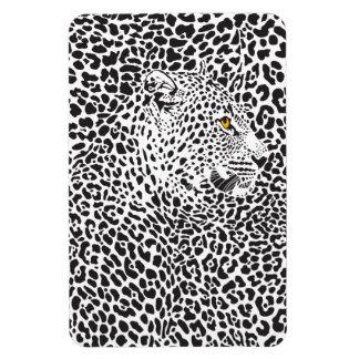Black & White Leopard Camouflaged In Spots Pattern Rectangular Magnet
