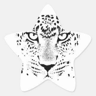 Black & White Leopard Eyes Star Sticker