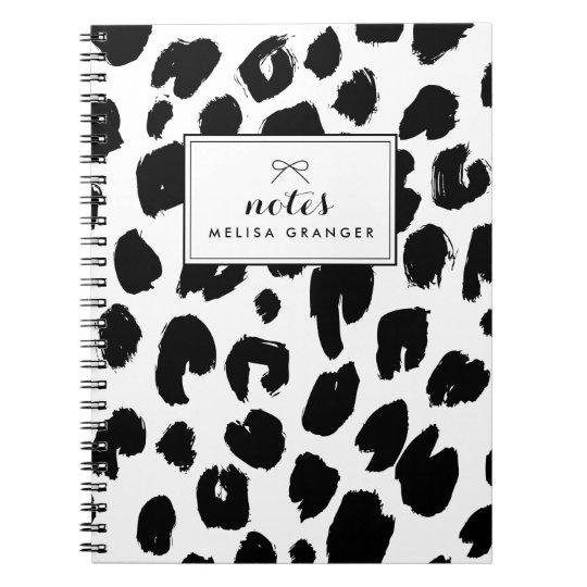 Black & White Leopard Print Personalised Notebook