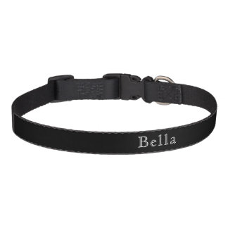 Black White Lettering Custom Name Pet Collar