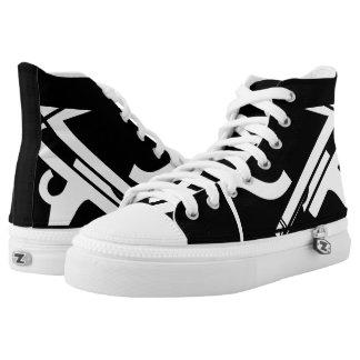 Black & White Leverage III Custom Template Hi-Tops Printed Shoes