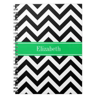 Black White LG Chevron Emerald Name Monogram Notebook