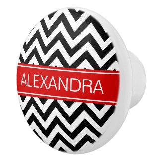 Black White LG Chevron Red Name Monogram Ceramic Knob