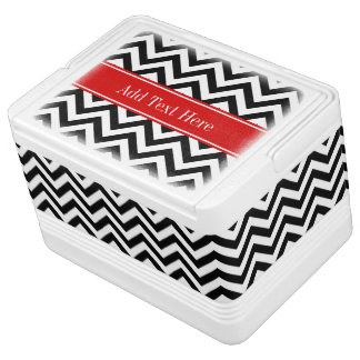 Black White LG Chevron Red Name Monogram Igloo Cooler