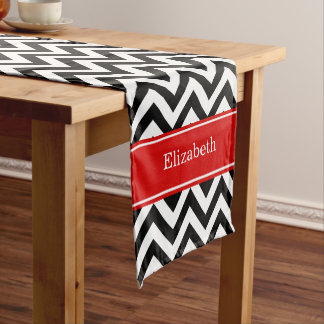 Black White LG Chevron Red Name Monogram Short Table Runner