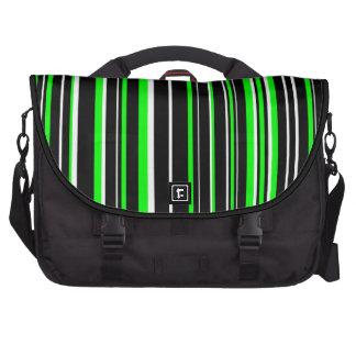 Black, White, Lime Green Barcode Stripe Bag For Laptop