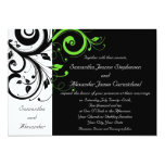 Black/White/Lime Green Bold Swirl Wedding 13 Cm X 18 Cm Invitation Card