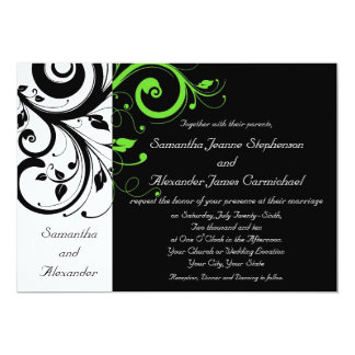 Black/White/Lime Green Bold Swirl Wedding 5x7 Paper Invitation Card