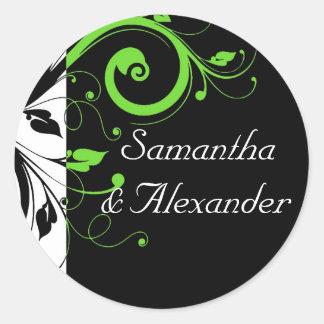 Black/White/Lime Green Bold Swirl Wedding Round Sticker