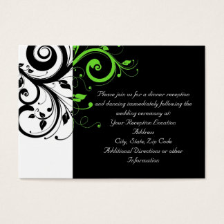 Black/White/Lime Green Swirl Wedding Insert Card