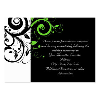 Black/White/Lime Green Swirl Wedding Insert Card Pack Of Chubby Business Cards