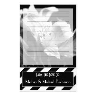 Black & White Lined Iris Personalized Stationery