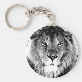 Black & White Lion Basic Round Button Key Ring