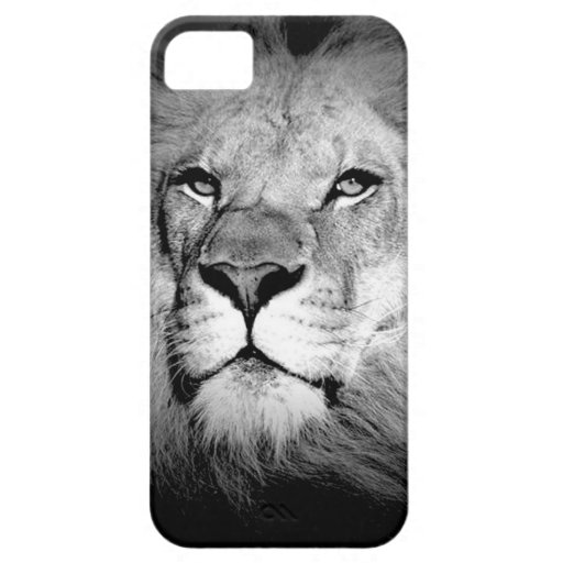 Black & White Lion iPhone 5 Cases