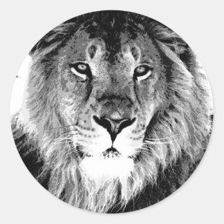 Black & White Lion Classic Round Sticker