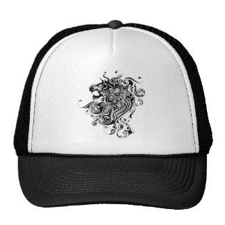 Black & White Lion Head-Tattoo Style Cap