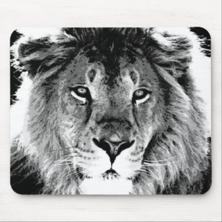 Black & White Lion Mouse Mat