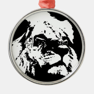 Black & white lion pop art Silver-Colored round decoration