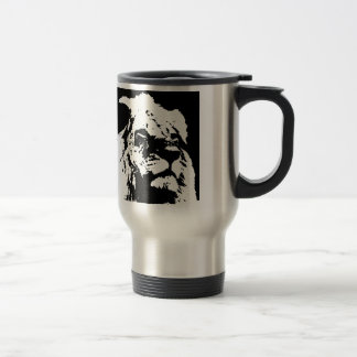 Black & white lion pop art travel mug