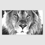 Black & White Lion Rectangle Stickers